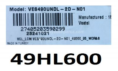 VESTEL , VES490UNDL-2D-N01 , HI-LEVEL , 49HL600 , 49DLED_A-TYPE_REV00 , 7 ADET LED ÇUBUK
